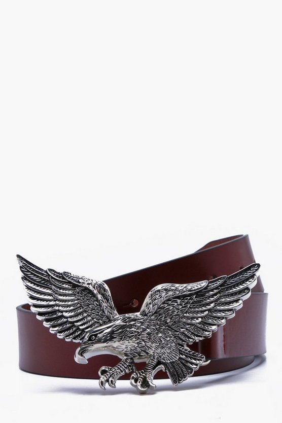 Faux Leather Eagle Buckle Belt