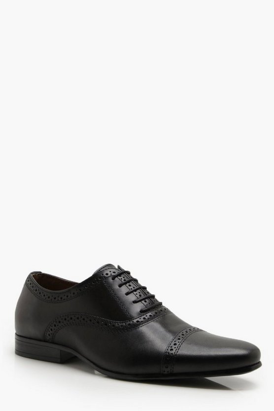 Mens Black Real Leather Punched Brogue
