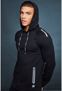 Mens Black MAN Active Gym Reflective Hoodie