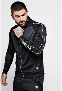 Mens Black MAN Active Gym Funnel Neck Top