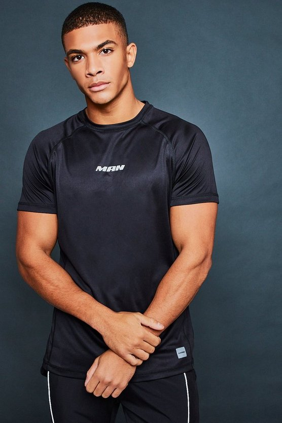 Mens Black Active Gym T-Shirt With Reflective Print