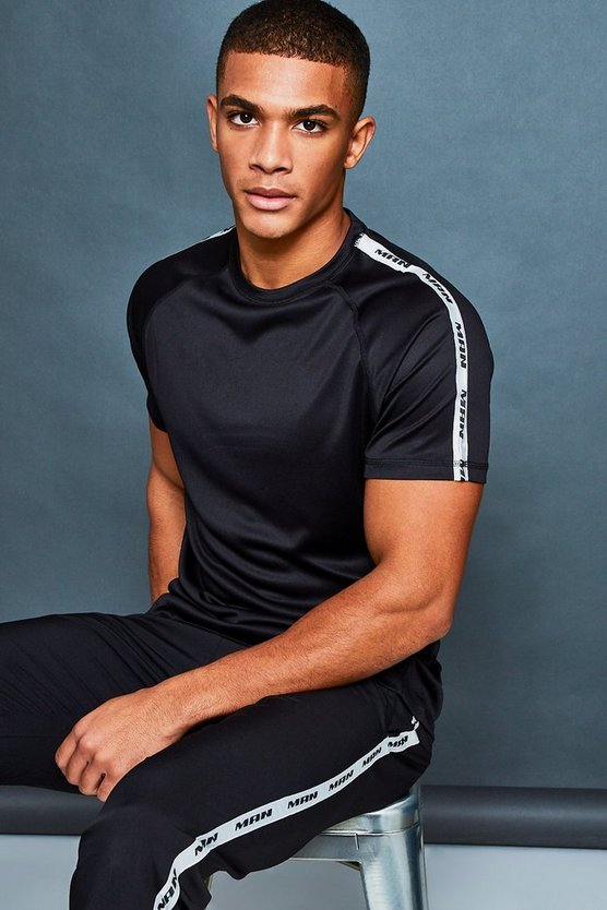Mens Black MAN Active Gym T-Shirt With Side Tape