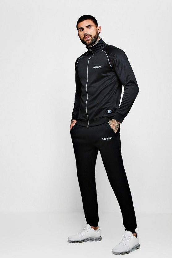 Mens Black MAN Active Gym Printed Tricot Funnel Tracksuit