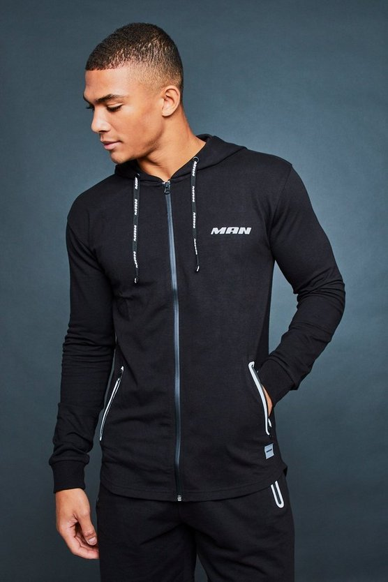 MAN Active Gym Zip Through Hoodie