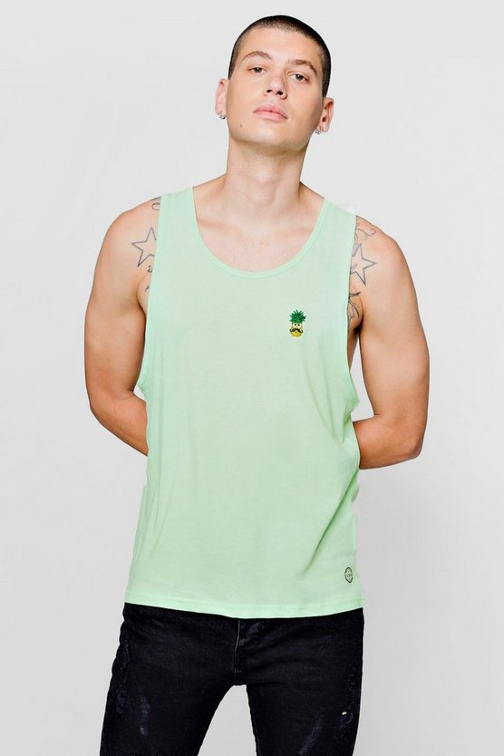 Drop Arm Hole Vest With Pineapple Badge