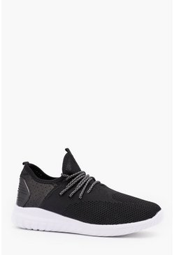 Knitted Sock Detail Trainer, Black, МУЖСКОЕ