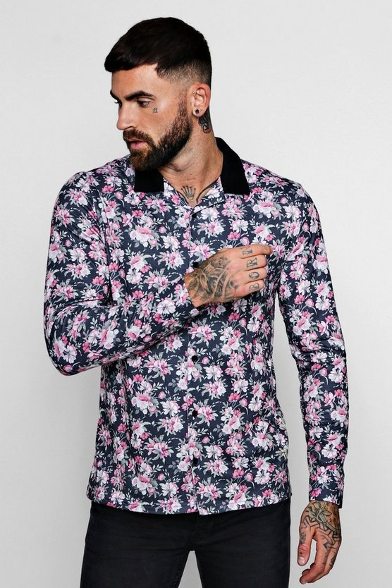 Floral Print Long Sleeve Revere Jersey Shirt
