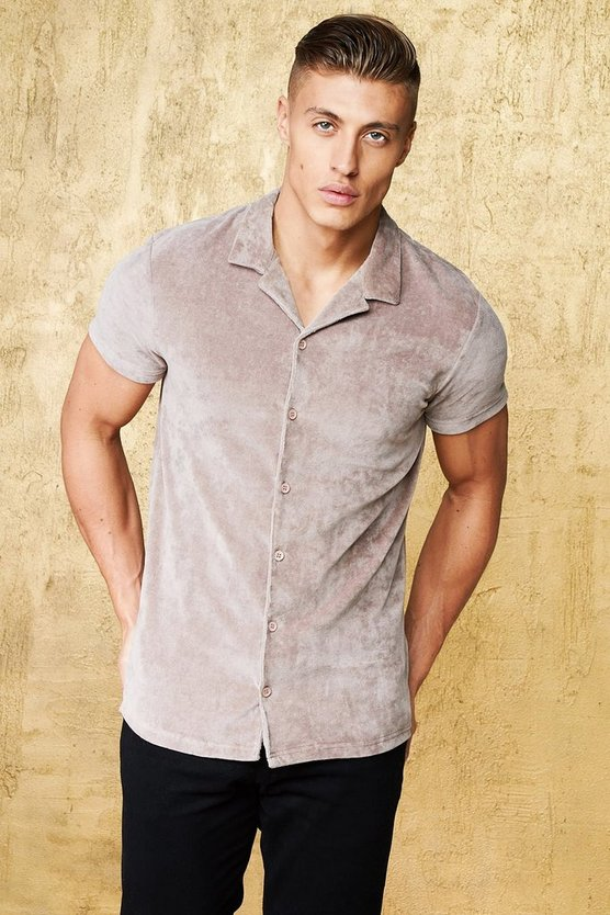 Short Sleeve Velour Revere Muscle Fit Shirt