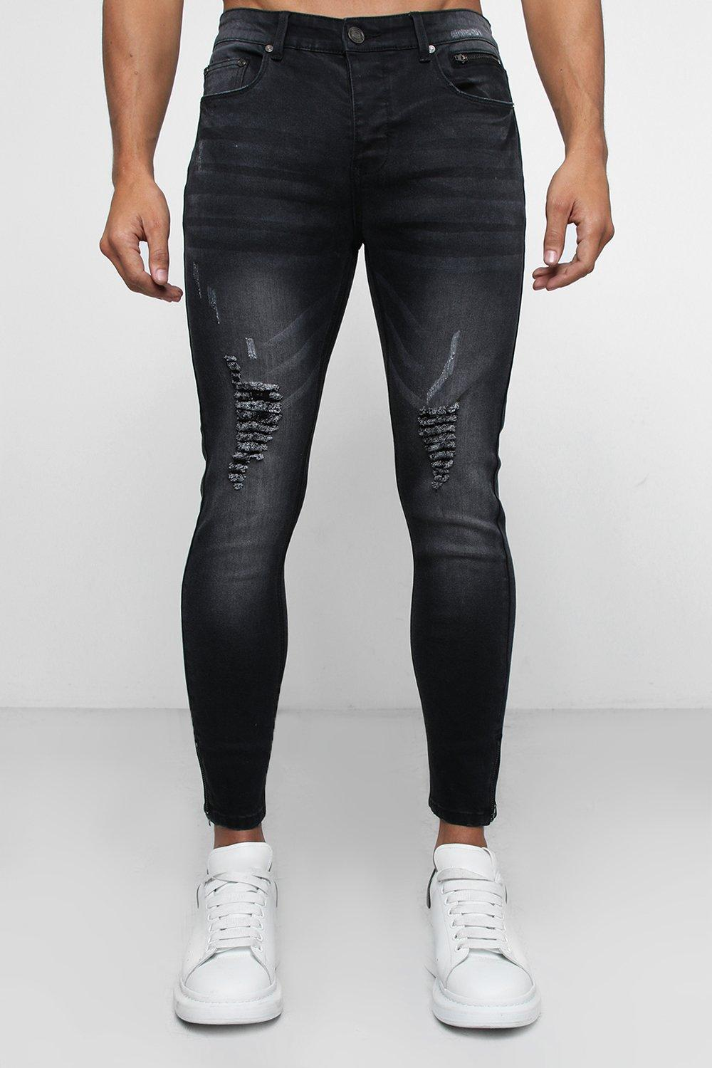 Super Skinny Distressed Jeans with Zipped Hem