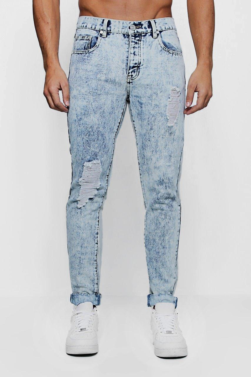Skinny Fit Acid Wash Jeans with Distressing