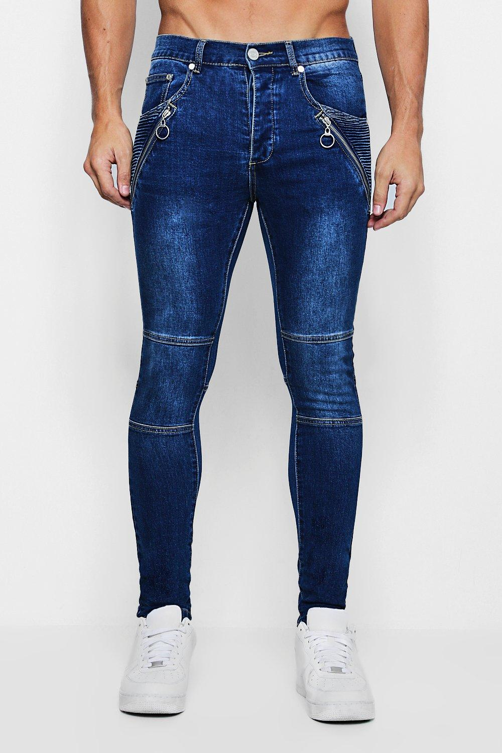 Super Skinny Biker Jeans with Hardware