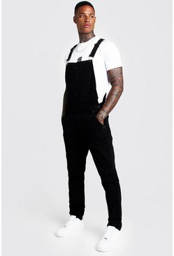 Mens Black Slim Fit Denim Dungarees