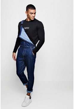 Herr Indigo Slim Fit Denim Dungarees With Contrast Stitch