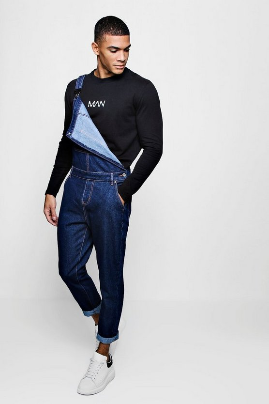 Mens Indigo Slim Fit Denim Dungarees With Contrast Stitch