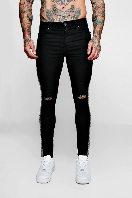 Super Skinny Ripped Knee Jeans with Aztec Tape