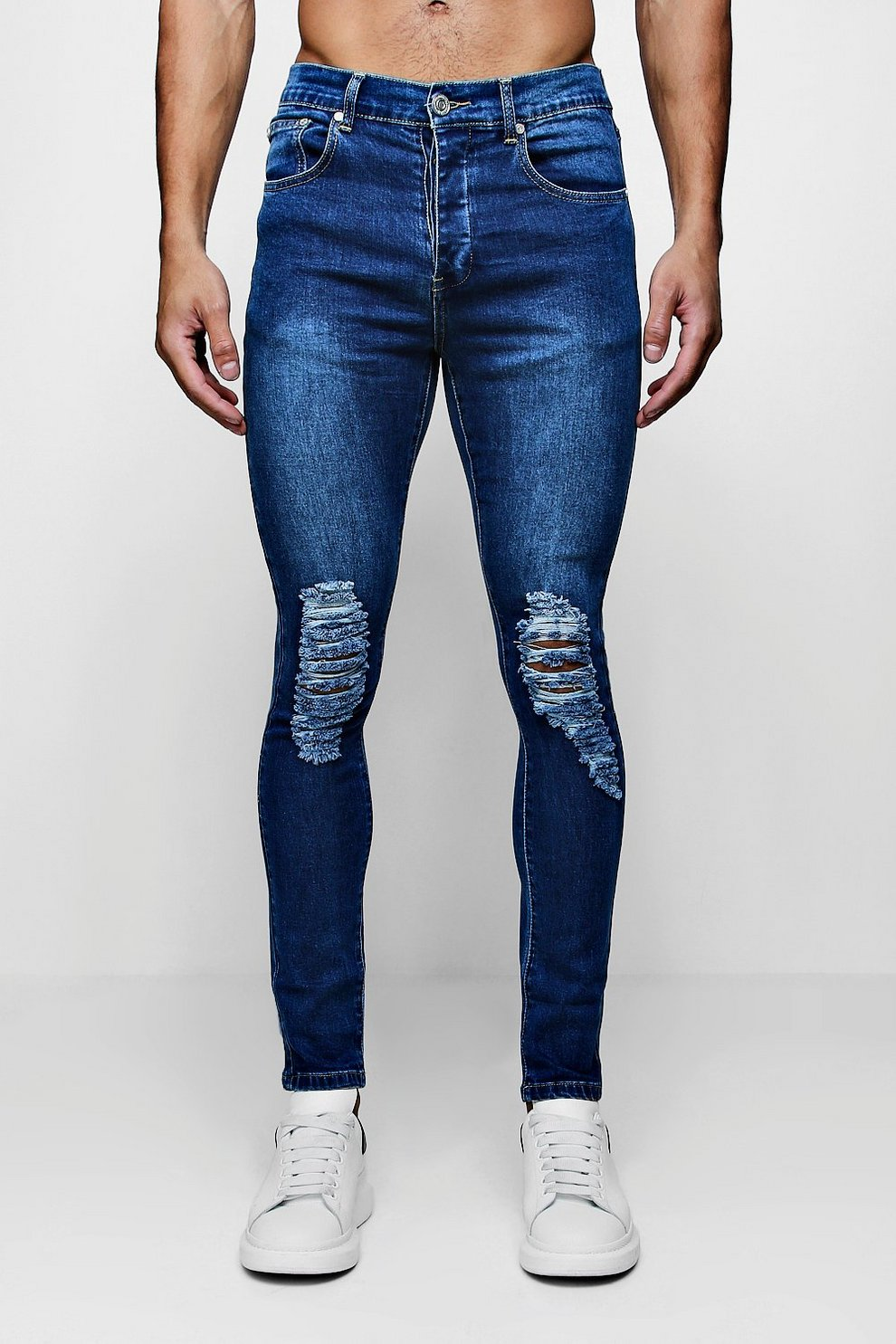 88bae0088d61 Mens Mid blue Super Skinny Jeans with Heavily Distressed Knees