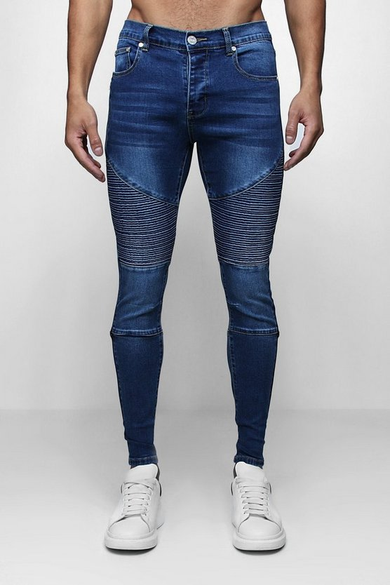 Skinny Fit Biker Jeans with Side Zip