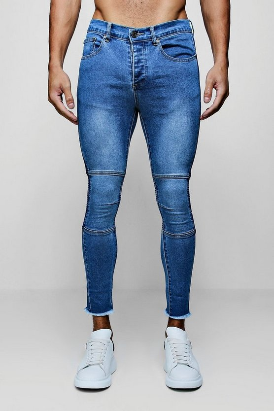 Mens Mid blue Super Skinny Biker Jeans with Raw Hem