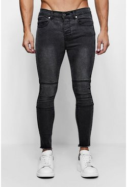 Mens Charcoal Super Skinny Biker Jeans with Raw Hem
