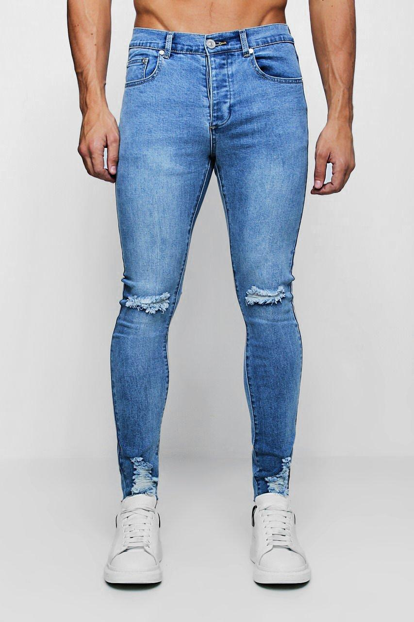 Super Skinny Jeans with Distressed Knee and Hem