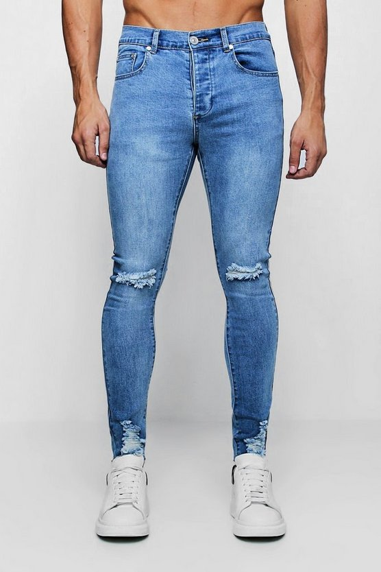 Washed blue Super Skinny Jeans with Distressed Knee and Hem