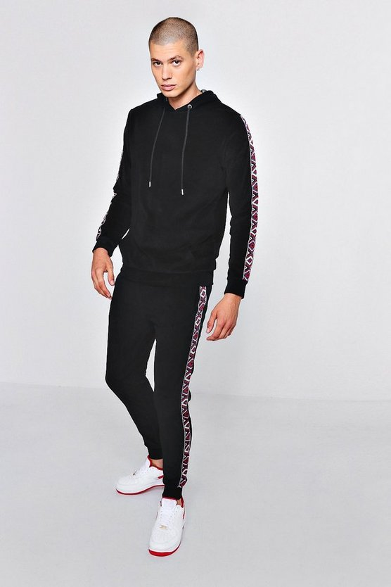 Velour Sports Tape Skinny Fit Hooded Tracksuit