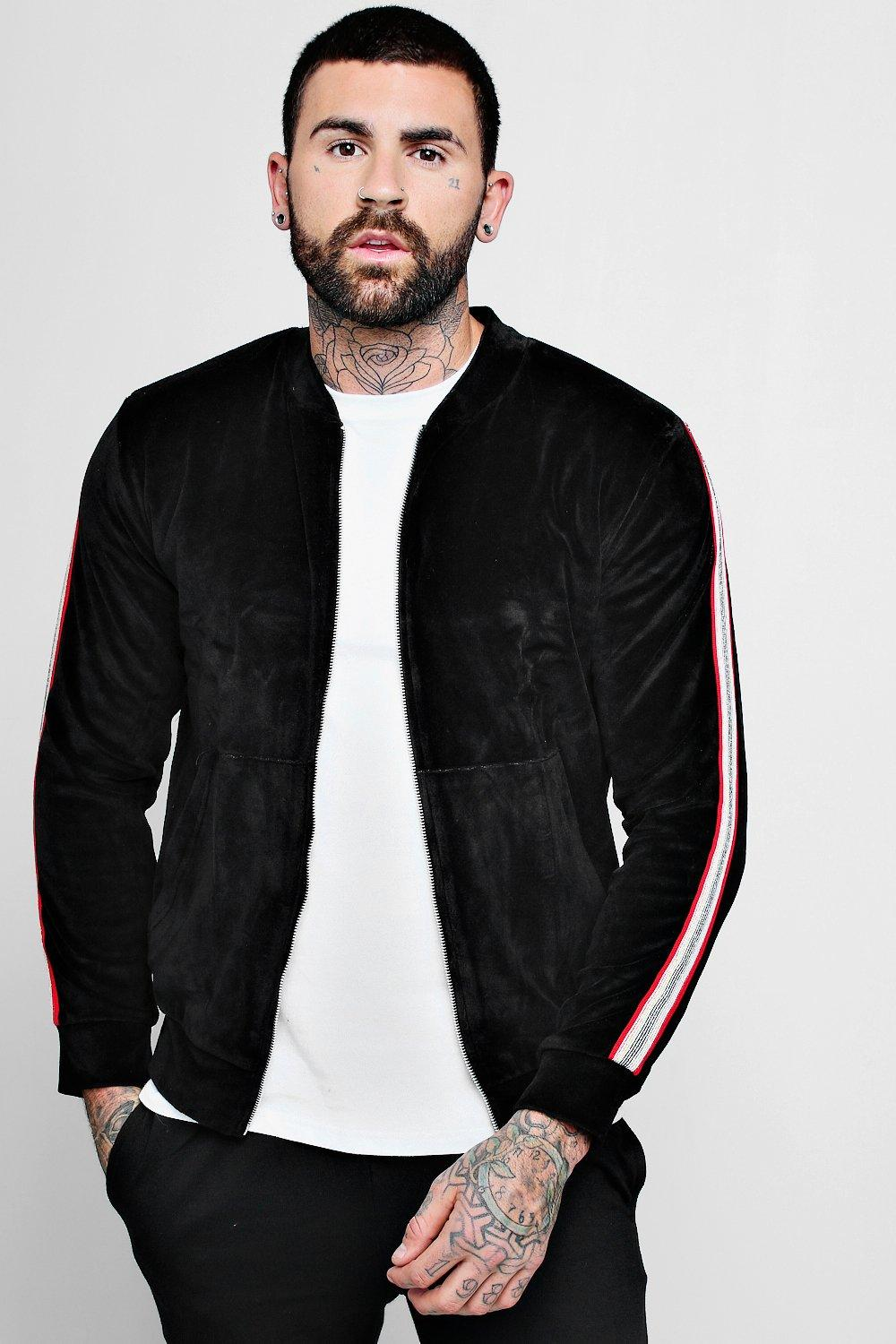 Velour Sports Tape Detail Bomber Jacket
