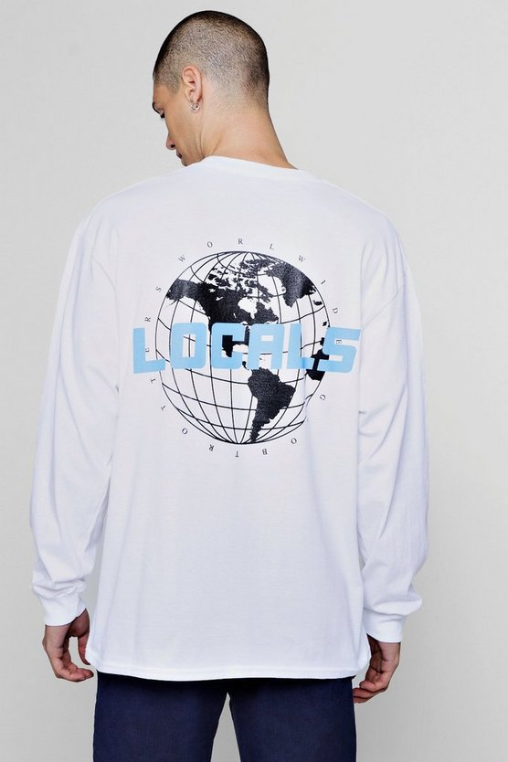 Oversized Long Sleeve T-Shirt With Multi Print