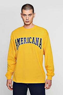 Oversized Long Sleeve America Print T-Shirts
