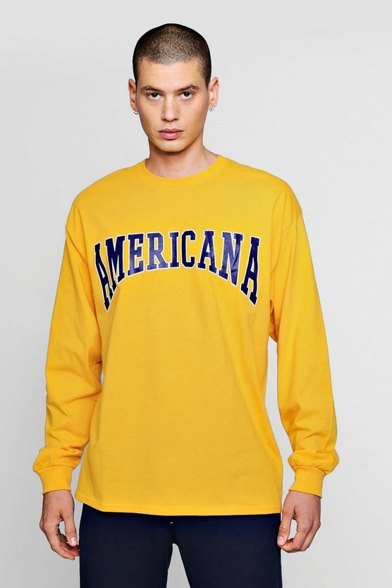 Mens Gold Oversized Long Sleeve America Print T-Shirts