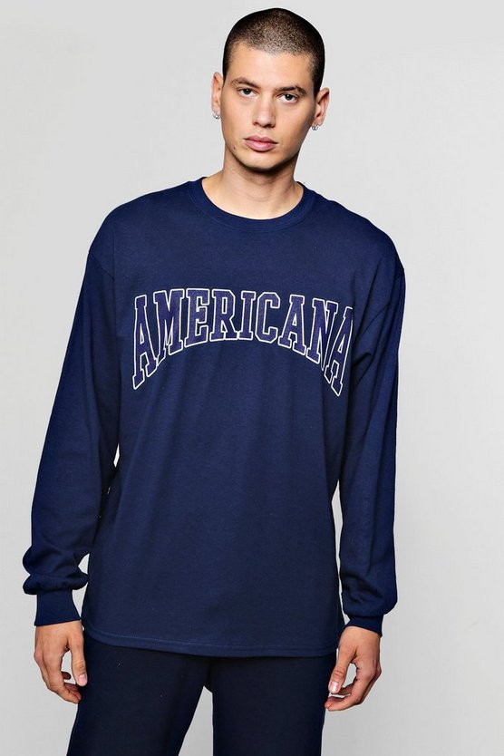 Mens Navy Oversized Long Sleeve America Print T-Shirts