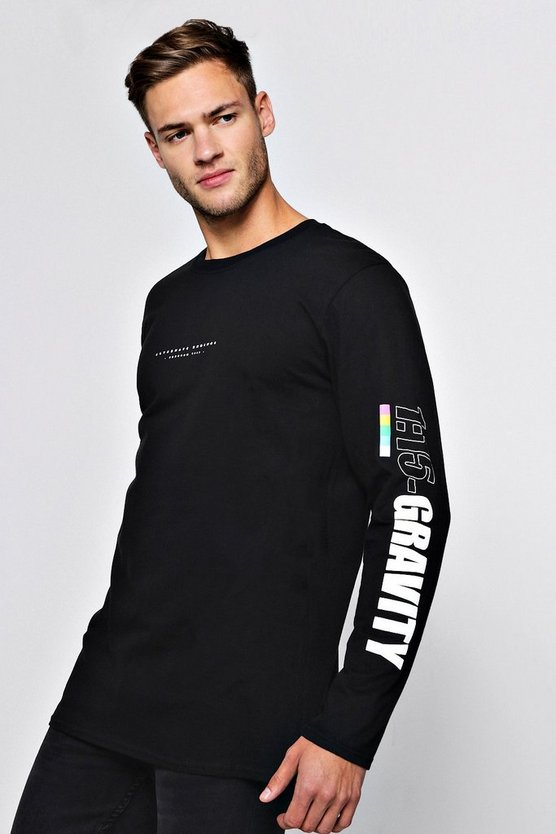 Oversized Long Sleeve Multiple Print T-Shirt
