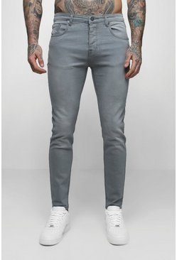 Skinny Fit Denim Jeans in Pale Grey, Uomo