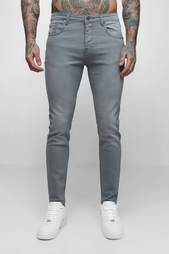 Mens Pale grey Skinny Fit Denim Jeans in Pale Grey