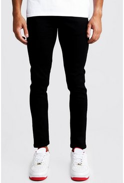 Skinny Fit Denim Jeans in Black, Uomo