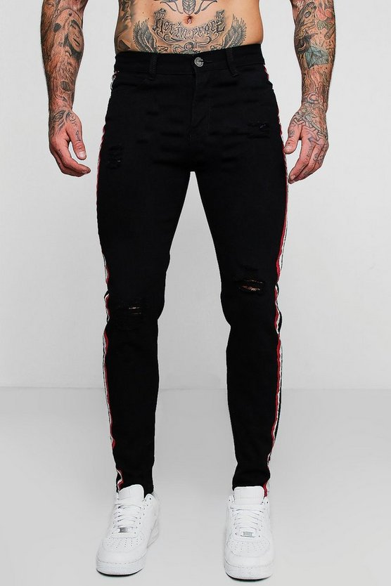 Skinny Fit Distressed Side Tape Jeans