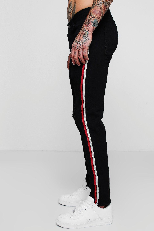 Skinny Tape black Distressed Fit Jeans Side qww6Ff4S