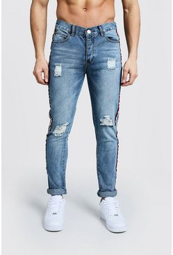 Mens Washed blue Skinny Fit Distressed Side Tape Jeans