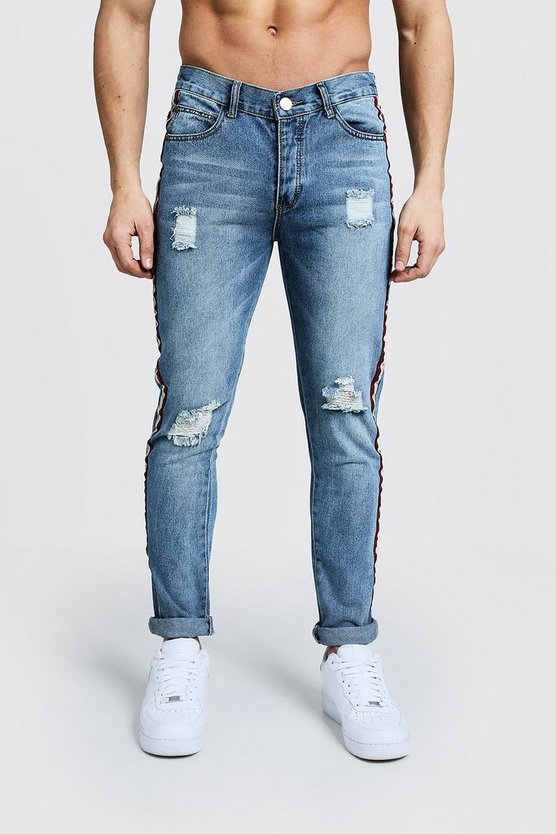 Herr Washed blue Skinny Fit Distressed Side Tape Jeans