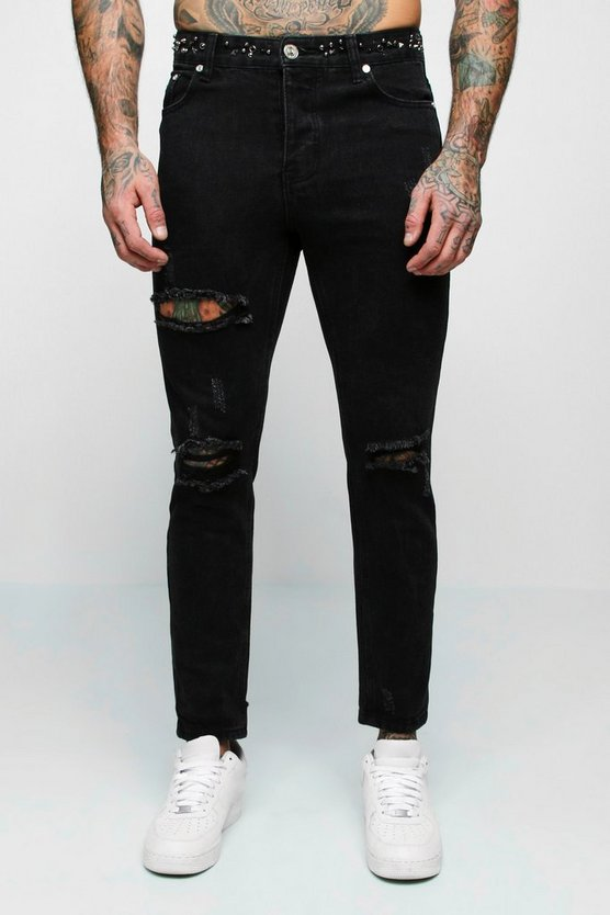 Mens Black Skinny Fit Jeans With Embellished Waistband