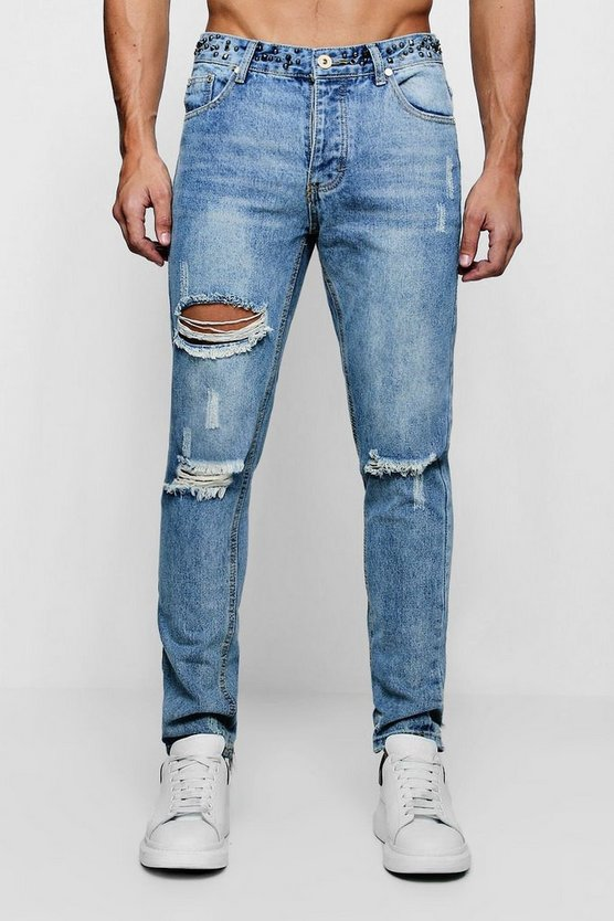 Mens Vintage wash Skinny Fit Jeans With Embellished Waistband