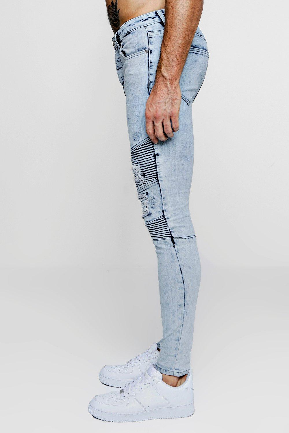 Biker Super blue pale Jeans Distressed Skinny qqECvwH