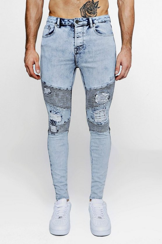 Super Skinny Distressed Biker Jeans