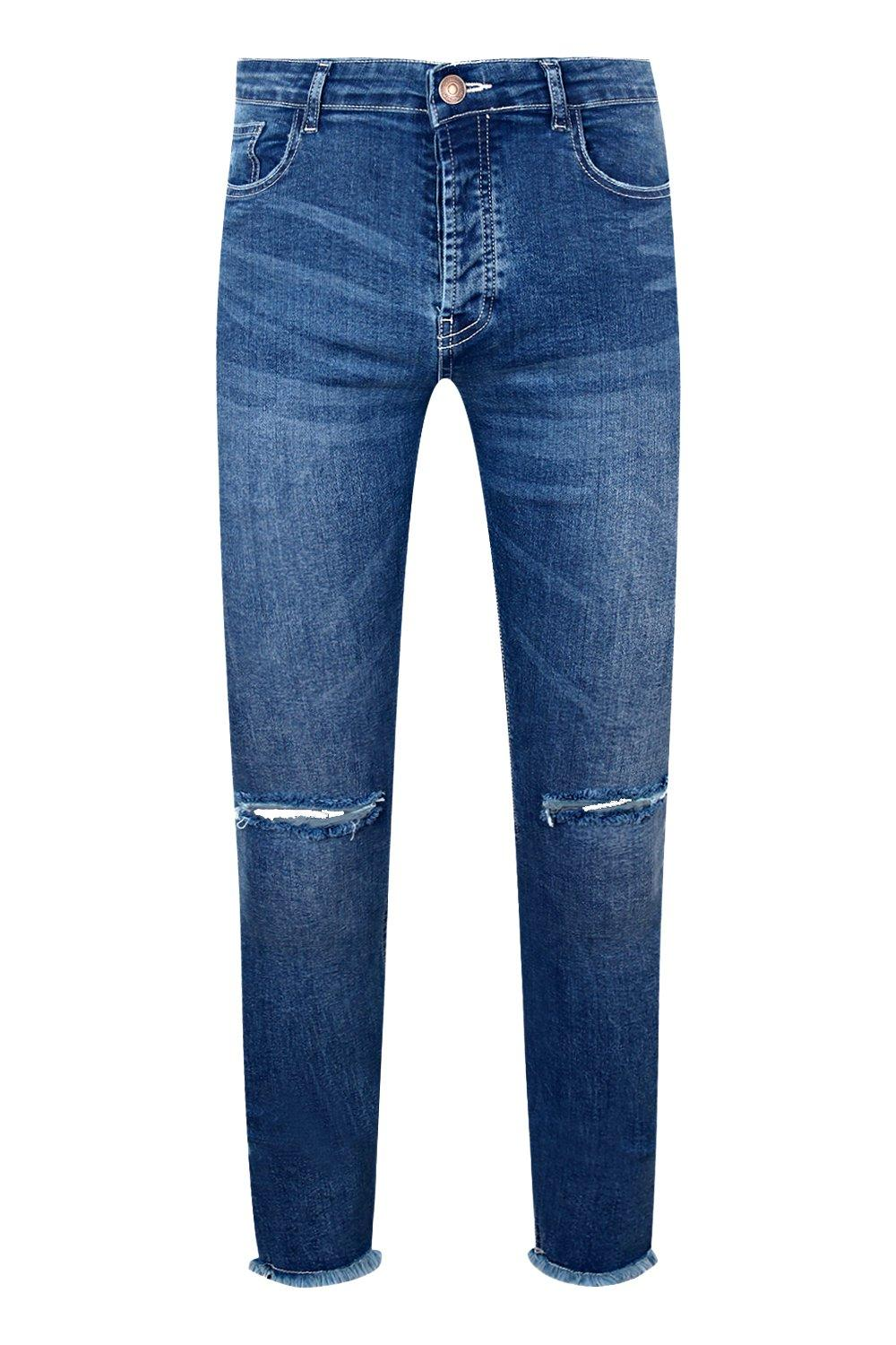 Hem blue Raw Jeans and Knees Ripped With Skinny mid Fit 70Hqgg