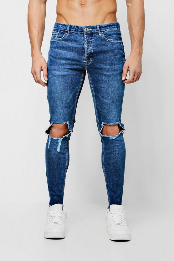 Skinny Fit Jeans With Ripped Knees and Raw Hem