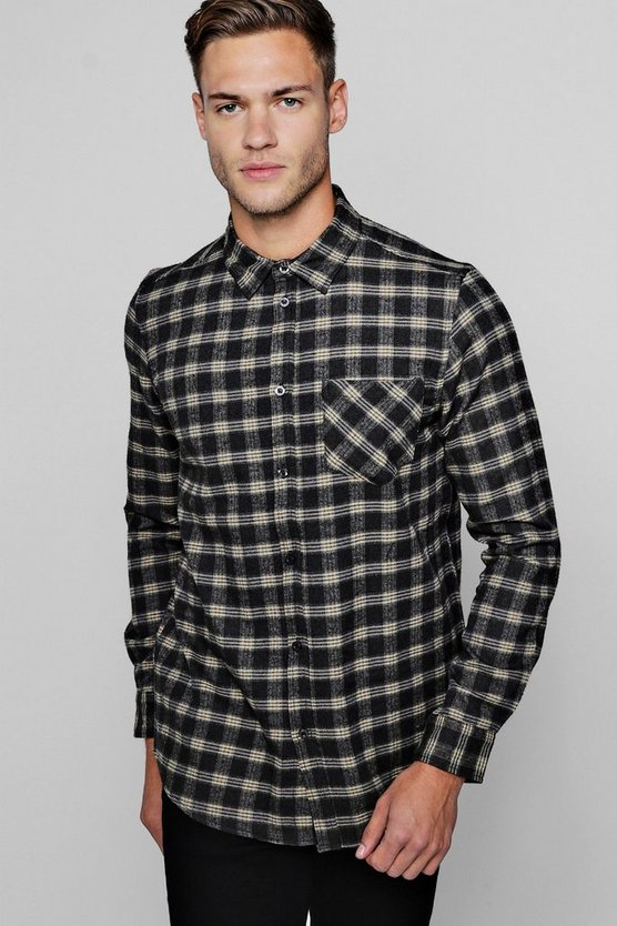 Long Sleeve Navy Check Shirt