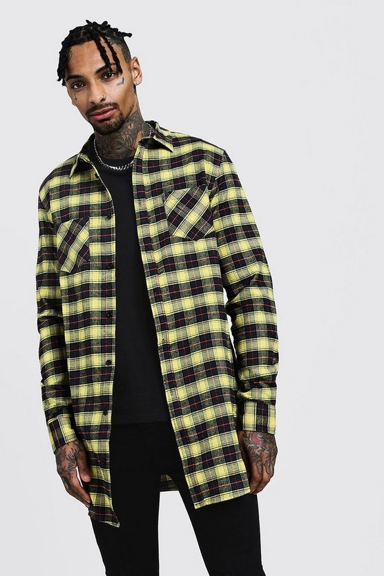 Mens Yellow Long Sleeve Yellow Check Longline Shirt
