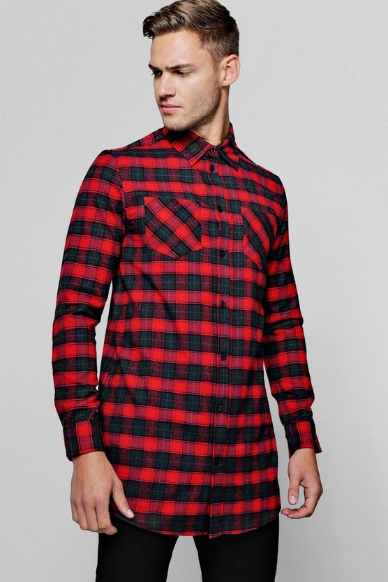 Long Sleeve Red Check Longline Shirt