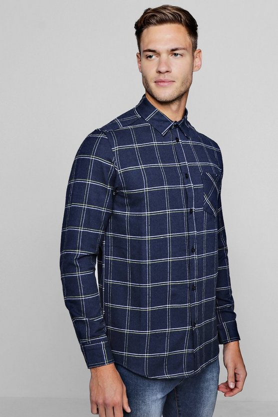 Long Sleeve Navy Window Pane Check Shirt