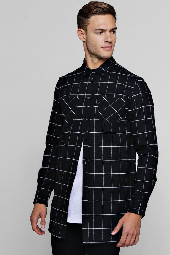 Long Sleeve Black Check Longline Shirt